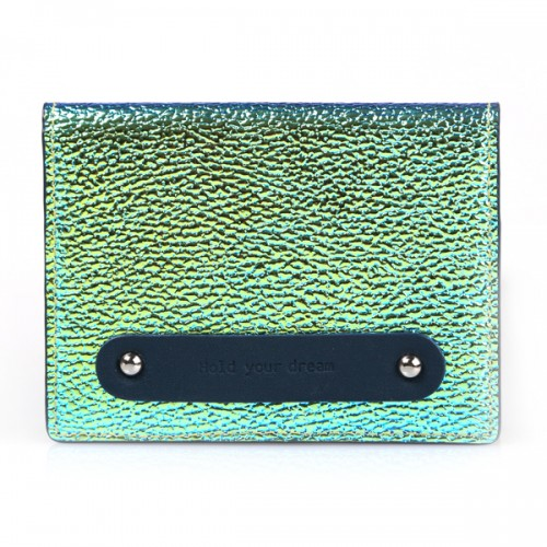 Hold your dream LEATHER card case NEOblue